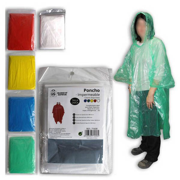 Poncho impermeable  1x1,2mt colores stds