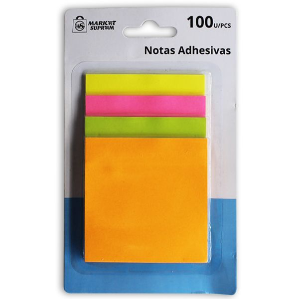 NOTAS ADHESIVAS 100UDS 76X76MM COLOR FLUOR EN BLISTER