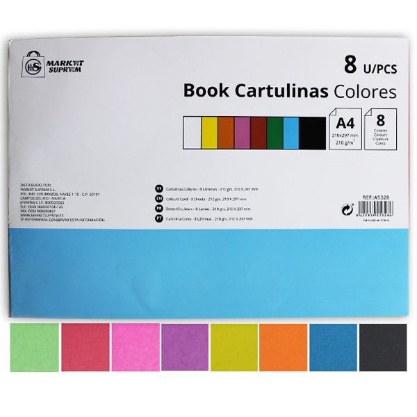 CARTULINAS BOOK A4 8 COLORES 210GR