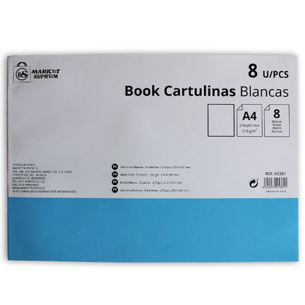 CARTULINA BOOK A4 8UNS BLANCO 210GR