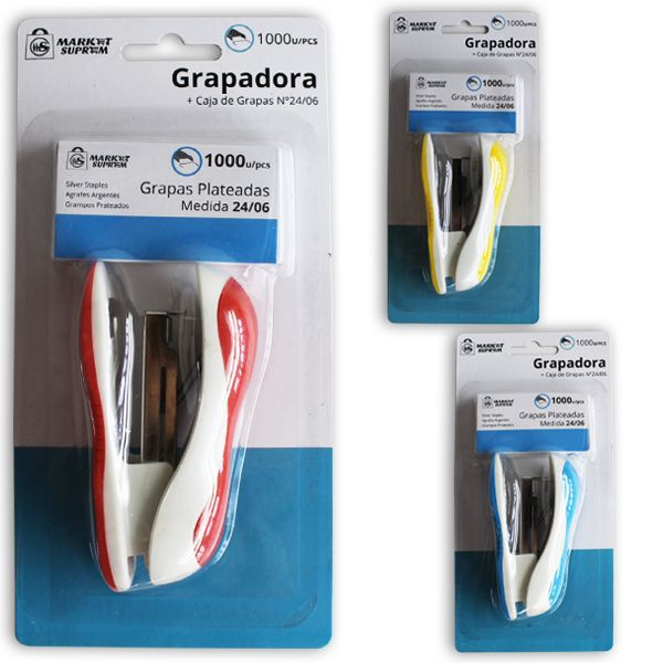GRAPADORA 9,8X3,2X5,2CM COLORES STDS CON 1000 GRAPAS