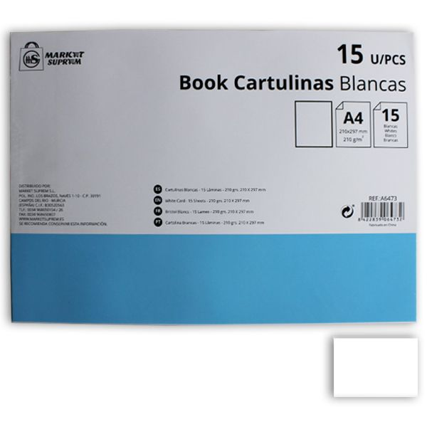 CARTULINA BOOK A4 15UDS BLANCO 210GR