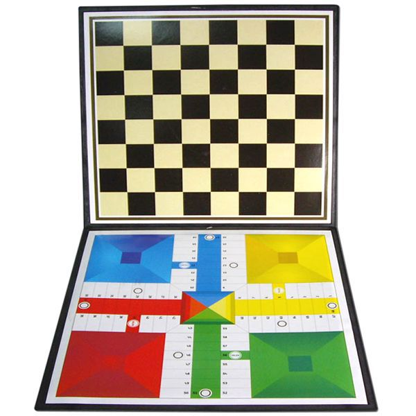 TABLERO PARCHIS MAS DAMAS 34X34CM