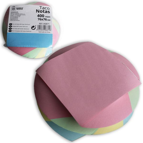 TACO DE NOTAS 400 H COLORES STDS 76X76MM