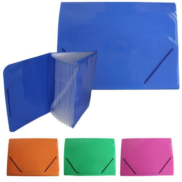 CARPETA ACORDEON CON GOMAS A4 33X24,5CM COLORES STDS